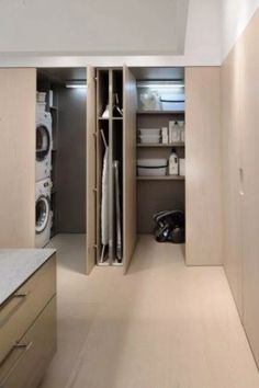 Cool 35 Chic Hidden Laundry Room Designs Ideas To Try Asap. Laundry Room Doors, Laundry Room Layouts, Laundry Room Organization, Organization Ideas, Storage Ideas, Bathroom Closet, Bathroom Interior, Interior Pocket Doors, Hidden Laundry
