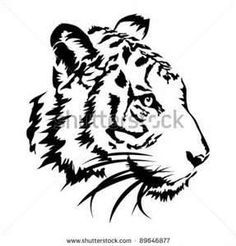 tiger tattoo black and white simple - Google Search