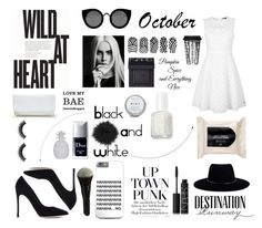 """""""Black and White #october"""" by xestherkoopmans on Polyvore featuring mode, Tommy Hilfiger, Gianvito Rossi, Bebe, Quay, Zimmermann, GUESS, NARS Cosmetics, Essie en H&M"""
