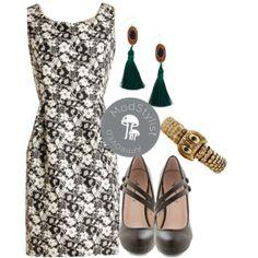 With High Distinction Dress, A New Spin Heel in Black, Bling-dom Animalia Bracelet in Owl, Tassel Dazzle Earrings    #tassels #blackandwhite #romanticflorals