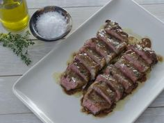 NY Strip Steaks Recipe from Tyler Florence Test Kitchen Start on stovetop then finish in oven 275 F Food Network Sauce Recipes, Meat Recipes, Dinner Recipes, Cooking Recipes, Meatloaf Recipes, Top Recipes, Chef Recipes, Mexican Recipes, Drink Recipes