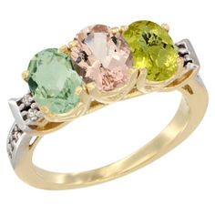 14K Yellow Gold Natural Green Amethyst, Morganite and Lemon Quartz Ring 3-Stone 7x5 mm Oval Diamond Accent, sizes 5 - 10 -- Startling review available here  : Ring Bands