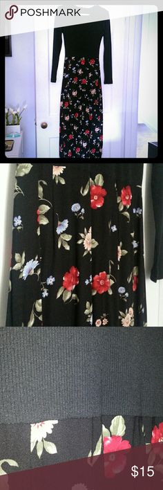 "Dress. Long. Pair With denim jcket/booties! Flowing floral print dress. Flowers in red/periwinkle/tan with green leaves. Knit top has some stretch to it. Zip back. Pair with a denim top for that ""girl next door"" look!! Steffano Dresses"