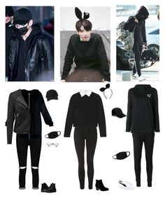 """""""Jungkook in all black outfits"""" by mochichimchim ❤ liked on Polyvore featuring StyleNanda, Boohoo, Converse, Topshop, Alice + Olivia, Zoe Karssen, Skechers and Puma"""