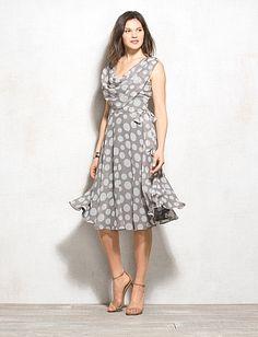Draped Polka Dot Dress