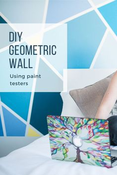 Creating A Geometric Accent Wall At Home - OddHogg Interior House Colors, Interior Plants, Interior Ideas, Interior Design, Simple Diy, Easy Diy, Displaying Kids Artwork, Painting Tile Floors, Office Paint