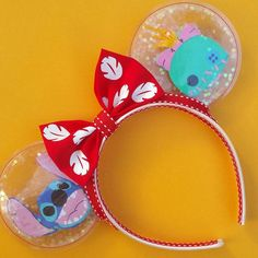 These lilo and stitch ears were for a 6 year old so I downsized the ears a little! Diy Disney Ears, Disney Mickey Ears, Disney Hair, Mickey Ears Diy, Micky Ears, Minnie Mouse, Stitch Ears, Lilo Y Stitch, Disney Stitch