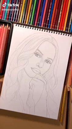 Doodle Art Drawing, Cool Art Drawings, Pencil Art Drawings, Drawing Sketches, Painting & Drawing, Chica Anime Manga, Bullet Journal Ideas Pages, Portrait Art, Ink Art