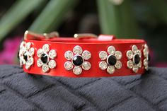 Red Leather Dog Collar with Swarovski Crystals by JustForBella, $109.00