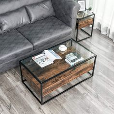 Iron Coffee Table, Glass Top Coffee Table, Rustic Coffee Tables, Coffee Table Design, Glass Table, Rustic Wooden Shelves, Wood Shelf, Steel Bed Frame, Country House Design