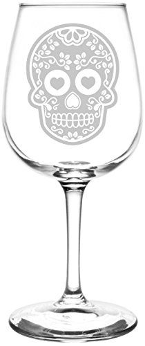 Inverted Vine | Mexican Sugar Skull Day of The Dead Calavera Inspired - Laser Engraved Libbey Wine Glass.  Full Personalization available!  Fast Free Shipping & 100% Satisfaction Guaranteed.  The Perfect Gift!