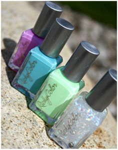 Bottle shots of RickyColor polishes: Highline Hangout, BBCs at Cyrils, Hudson Valley Getaway & Fire Island Ferry. Photo Credit: Glamorable.com