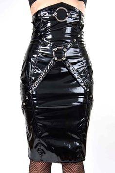 Phaze - Gloss PVC O-Ring Corset Skirt - Black