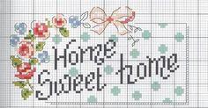 Üzerinde home sweet home yazan İşlediğim modelin etamin şablonu. Cross Stitch Borders, Cross Stitch Alphabet, Cross Stitch Flowers, Cross Stitch Charts, Cross Stitch Designs, Cross Stitching, Cross Stitch Embroidery, Cross Stitch Patterns, Sweet Home