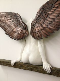 """Icarus had a sister"" lifesize sculpture by Masters & Munn, 3d Print Show London. Combination of traditional and state of the art sculpting techniques."