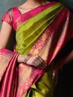 Over - Kanjivaram / Saree Store: Fashion Indian Silk Sarees, Soft Silk Sarees, Kanjivaram Sarees, Kanchipuram Saree, Traditional Sarees, Traditional Outfits, Indian Dresses, Indian Outfits, Saree Dress