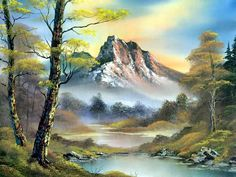 Landscape painting by  Bob Ross.