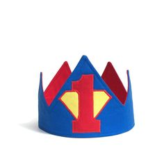 Superman Crown, Super Hero Birthday, First Birthday Crown, First Birthday Hat, birthday gift First Birthday Crown, Baby Birthday, First Birthday Parties, First Birthdays, Birthday Ideas, Superhero Party Favors, Superhero Invitations, Superman Birthday Party, Hulk Party