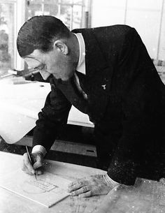 """This dome that Hitler is sketching ended up in the possession of Albert Speer. This was intended to be """"The Great Hall"""" in Berlin. This is February, 1937. (via putschgirl)"""