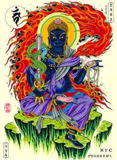 Fudo Traditional Japanese Tattoo Designs, Naruto Tattoo, Chinese Mythology, Buddha Tattoos, Japanese Tattoo Art, Asian Tattoos, Tattoo Flash Art, Japanese Illustration, Buddhist Art