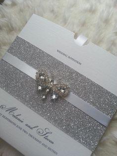 Wrap invitation, stylish invitation suite, crystal invitation, handmade wedding…