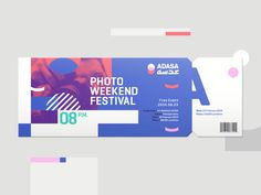 Rocío Galarza - Adasa branding WIP <p>In the branding process for ADASA, a cultural and visual institution, the experimentation came out as part of the system. Here are some of the results.</p> branding,color,event,festival,geometric,logo,photo,ticket