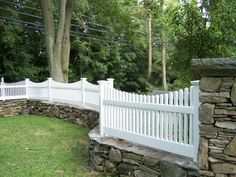 Photo of Colonial Fence - Fairfield, CT, United States. Victorian picket fence set on stone wall, in Westport, CT. Retaining Wall Fence, Stone Fence, Brick Fence, Front Yard Fence, Farm Fence, Dog Fence, Pallet Fence, Glass Fence, Fence Stain
