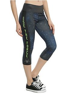 \Use The Force // Star Wars Galaxy Print Girls Athletic Capris
