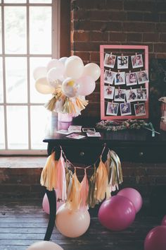 small balloons with confetti and streamers! also love the picture display