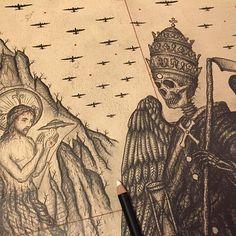 SnapWidget | Paradise Lost book ii in process detail. #B17 #milton #drawing #christ #ufo