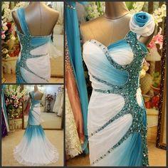 Zuhair Murad Wedding Dress, blue and white with Swarovski crystals