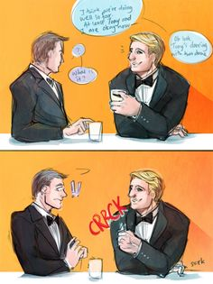 """Barton's all like (in frame 1.) """"wow Nat looks hot tonight."""" (In frame 2.) Crap Steve that was a glass cup..."""