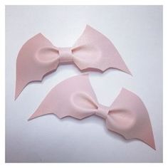 Pastel goth pale pink bat bow (1) ❤ liked on Polyvore featuring accessories, hair accessories, goth hair accessories, glitter hair accessories, bow hair accessories, gothic hair accessories and long hair accessories