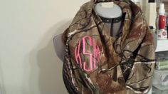 Real Tree Camo Infinity Scarf with Monogram by SewChicky on Etsy