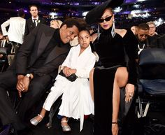 Family Night! Beyoncé and Daughter Blue Support 8-Time Nominee JAY-Z at Grammy Awards
