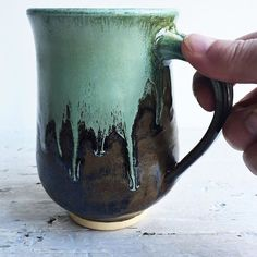 Today I think my mug looks like the icicles dripping from my windows. Happy mugshotmonday ! Have a day filled with smiles. by leewolfepottery