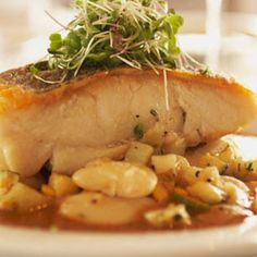 Free Recipes: Poached Sea Bass with Basil Broth - Diet and Nutrition