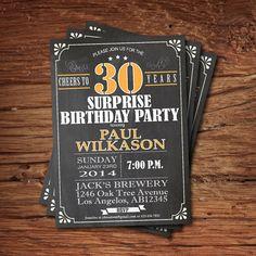 Chalkboard Birthday Invitation Birthday Invitation Elegant - Birthday invitation 30 years old