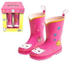 Babys First Pink Kitty Rain Boots