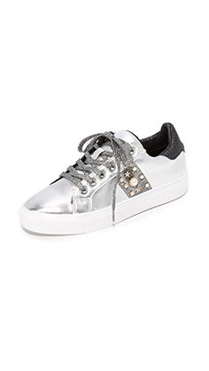 a88417a9f765d Snake-embossed trim and pearlescent beading add sophisticated style to  these metallic leather Steven sneakers. Glitter lace-up closure.