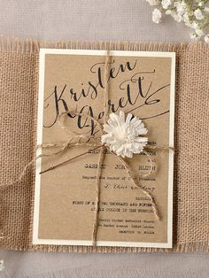 Custom listing 20 invitations Eco Chic Invitation, Eco Recycling Invitations, Burlap Wedding Invitations , Rustic Wedding invitation,