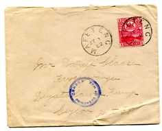"""Ceylon (BOER WAR)  BASUTOLAND 1902 censored envelope addressed to POW in Ceylon. Franked 1d adhesive tied """"MAFETENG"""" c.d.s. MY 1 02 A further strike alongside."""