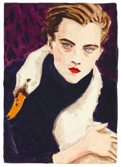 "carlotta-m: "" Elizabeth Peyton, Swan (Leonardo di Caprio), Öl auf Holz, "" Elizabeth Peyton, Op Art, Women Artist, Bohemian Wall Art, Paintings I Love, Awesome Paintings, Portraits, Portrait Art, David Hockney"