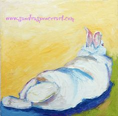 Original Relaxing Bunny Oil Painting 10x10 bright and fun via Etsy.