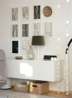 Use a BESTA cabinet as a sleek console table by mounting it on the wall like thi. - Ikea DIY - The best IKEA hacks all in one place Estilo Interior, Home Interior, Interior Styling, Interior Design, Floating Cabinets, Ikea Cabinets, Wall Cabinets, Storage Cabinets, Home Living Room
