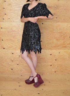 Vintage 80's Dress Black On Black Arrow Like by ThatchVintage