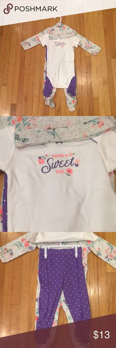 "Carter's Baby Girl 4 Pc Set Carter's baby girl 4 piece set, brand new never been warned, onesie has logo on the chest ""Daddy's Sweet Girl "", pant are purple, pajamas comes with matching hat. Carter's Matching Sets"