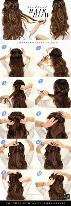 Headband Hair Bow Hair Tutorial - How to Cute Easy Hairstyles Easy Hairstyles For Long Hair, Headband Hairstyles, Down Hairstyles, Trendy Hairstyles, Wedding Hairstyles, Teenage Hairstyles, Amazing Hairstyles, Straight Hairstyles, Headband Updo