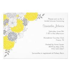 Fresh Yellow Bridal Shower Invitations #yellow #bridalshowers #invitations