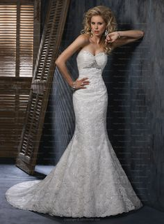 Trumpet/Mermaid Sweetheart Beading Lace Court Train Wedding Dress at Millybridal.com